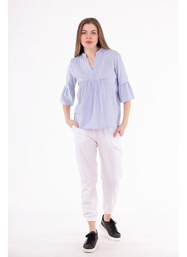 Stamina  Bayan Çizgili Hakim Yaka Kolları Volenli Bluz-5BL02 Mavi